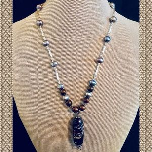 Jewelry - Handcrafted Glass Bead & Genuine Pearl Necklace